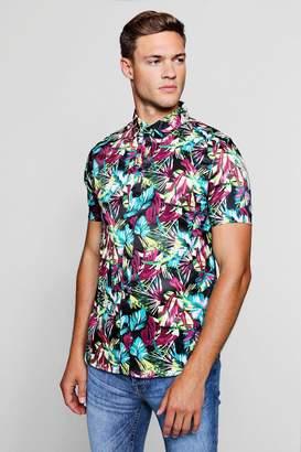 boohoo Bright Palm Print Short Sleeve Satin Shirt