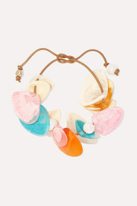 Dinosaur Designs Pipi Leather, Resin And Faux Pearl Bracelet - Turquoise