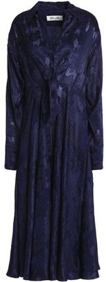 Diane von Furstenberg Fluted Fil Coupé Midi Shirt Dress