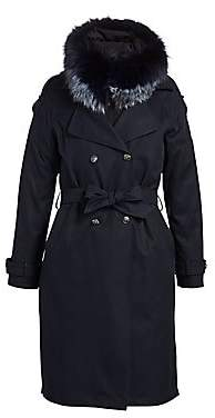 The Fur Salon The Fur Salon Women's Fox Fur-Trim Trench Coat