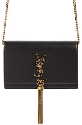 Saint Laurent Kate Leopard Logo Wallet on a Chain