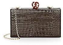 Edie Parker Women's Jean Croc-Embossed Leather Box Clutch