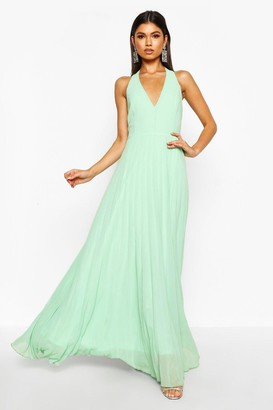boohoo Chiffon Pleated Plunge Maxi Dress