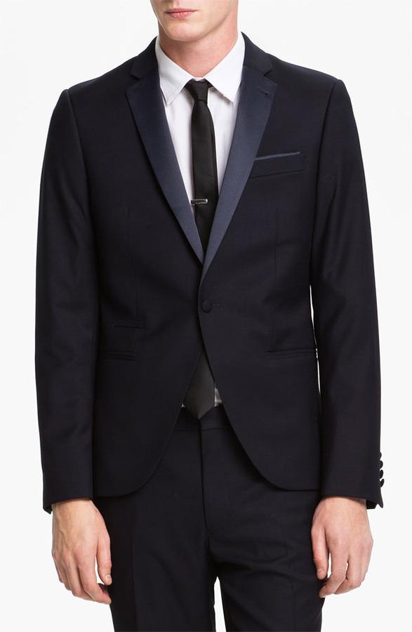 Topman Skinny Fit Single-Button Tuxedo Jacket