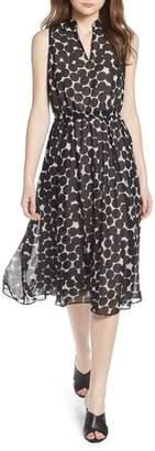 Anne Klein Dot Print Split Neck Dress