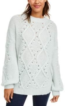 Ultra Flirt Juniors' Cable Knit Tunic Sweater