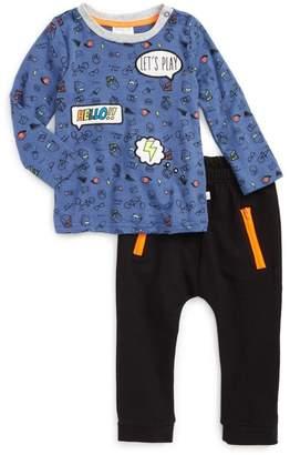 Rosie Pope Word Bubble Applique Shirt & Sweatpants Set (Baby Boys)