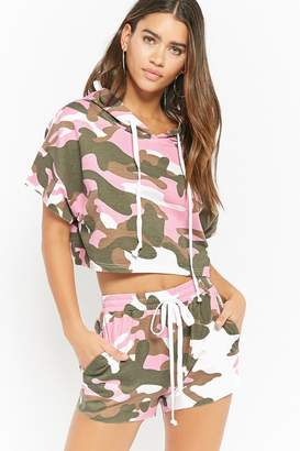 Forever 21 Camo Print Crop Top & Shorts Set