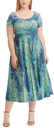 Chaps Plus Size Fit & Flare Midi Dress