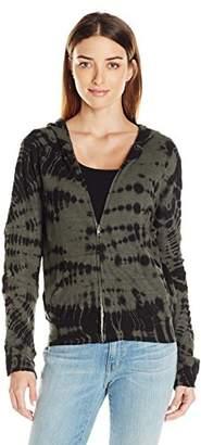 Monrow Women's Crocodile Tie Dye Zip Front Sweatshirt
