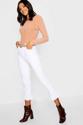 boohoo Frill Hem Denim Jeans