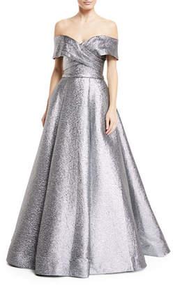 Jovani Metallic Off-the-Shoulder Ball Gown