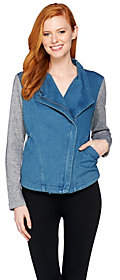 Lisa Rinna Collection Denim Jacket with FrenchTerry Sleeves