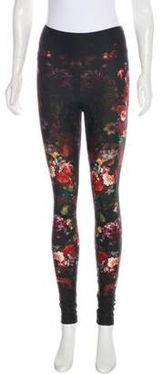 Alexander McQueen Mid-Rise Floral Print Leggings