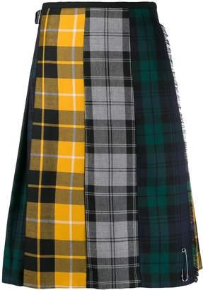 Le Kilt plaid panelled midi skirt