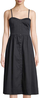 Rebecca Taylor Sweetheart Button-Front Cotton Tank Dress