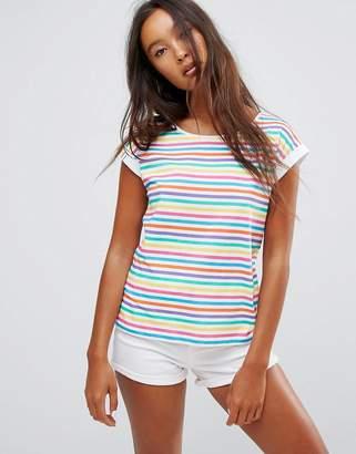 Esprit Stripe Slogan Sleeve T-Shirt $30 thestylecure.com