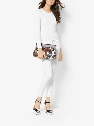 Michael Kors Stanwyck Floral Intarsia Leather Clutch
