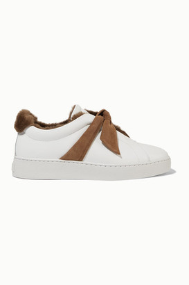 Alexandre Birman Clarita Bow-embellished Faux Shearling-lined Leather Slip-on Sneakers - White
