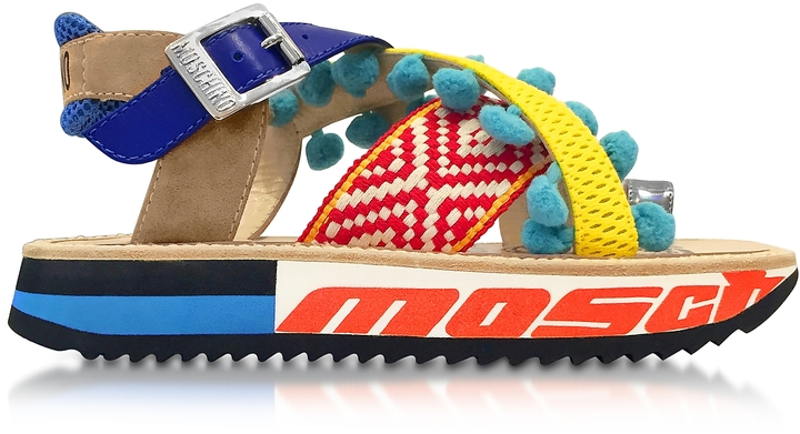 Moschino Moschino Techno Multicolor Fabric & Leather Platform Sandal w/Light Blue Pompom