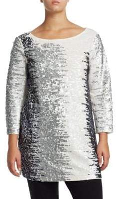 Joan Vass Plus Sequined Cotton Tunic