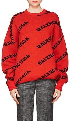 Balenciaga Women's Logo Stretch-Wool Sweater