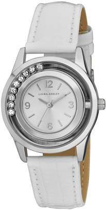 Laura Ashley Fashion Watch with Rolling Stones Dial and White Leather Band
