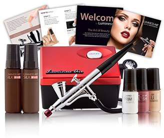 Luminess Air Red & Black Legend Airbrush System with 5-Piece Silk 4-IN-1 Deluxe Airbrush Foundation & Cosmetic Starter Kit