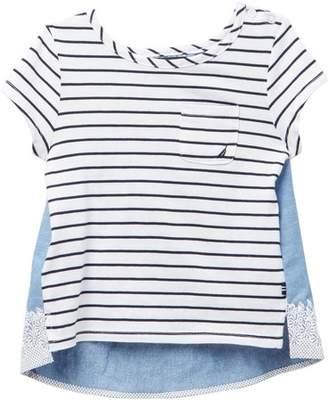 Nautica Striped & Floral Hi-Lo Hem Tee (Little Girls)