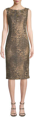 Badgley Mischka Sleeveless Leopard Sequin Dress