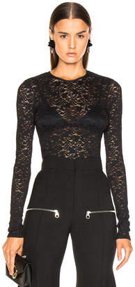 Enza Costa Stretch Lace Fitted Long Sleeve Crew