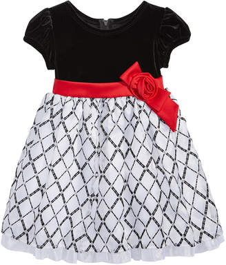 Bonnie Baby Stretch Velvet & Flocked Organza Dress, Baby Girls