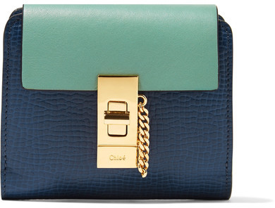 Chloé  Chloé - Drew Two-tone Smooth And Textured-leather Wallet - Navy