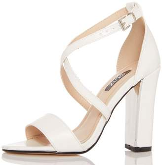 Quiz White Cross Strap Chunky Heel Sandals