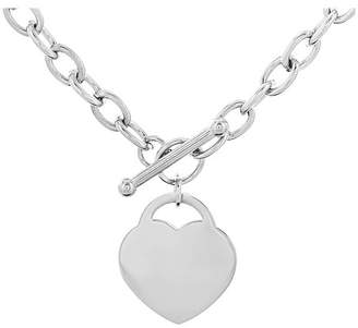 """West Coast Jewelry Women's Stainless Steel Heart Tag Toggle Clasp Necklace (18"""")"""