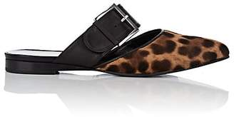 Barneys New York Women's Leopard-Print Calf Hair Buckle Mules