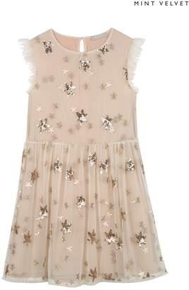 Mint Velvet Girls Mintie by Gold Sequin Star Party Dress - Gold
