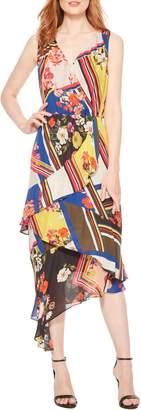 Parker Pippin Sleeveless Asymmetrical Hem Chiffon Midi Dress