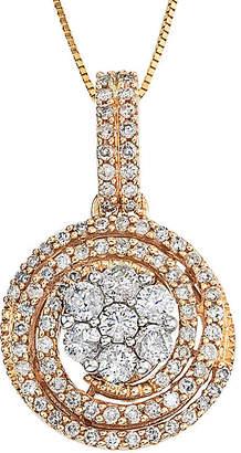 FINE JEWELRY diamond blossom 1 CT. T.W. Diamond 14K Two-Tone Gold Swirl Cluster Pendant Necklace