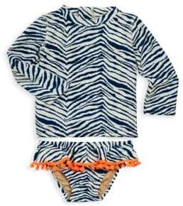 Baby Girl's & Little Girl's Two-Piece Zebra Rash Guard Set