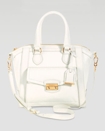 Cole Haan Zoe Small Structured Leather Satchel, Ivory