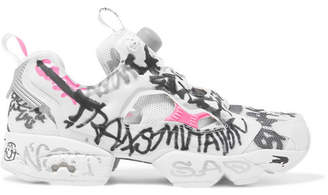 Vetements + Reebok Instapump Fury Printed Neoprene And Mesh Sneakers - White