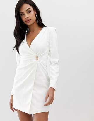 Club L London crepe wrap front button detail dress