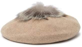 Portolano Genuine Dyed Fox Fur Pompom Cashmere Beret