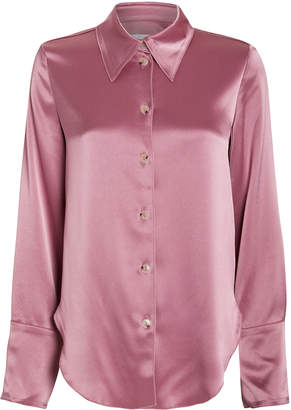 Nanushka Mandine Satin Button Down Blouse
