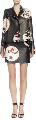 Alexander McQueen Kansai Engineered Painted Print Leather Jacket $3,362 thestylecure.com