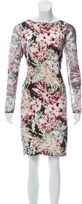 L'Agence Printed Silk Knee-Length Dress