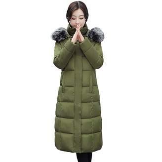 PENATE Women's Down Jackets PENATE Women Winter Warm Down Jacket Girls Long Plush Hooded Cotton Padded Coat