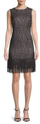Julia Jordan Fringed Lace Shift Dress