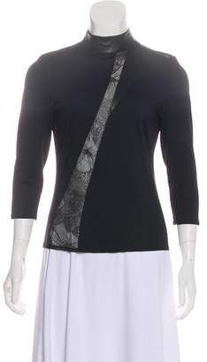 Versace Leather-Accented Long Sleeve Top